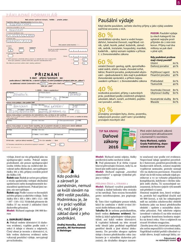 MF Dnes 19. 1. 2016 – článek Paušál nebo skutečné výdaje